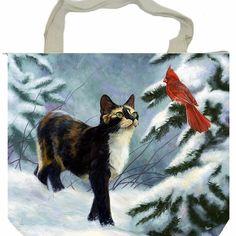 Cat snow Christmas tree bir shopping tote shoulder handbag handmade zip purse #Handmade #ShoulderBag