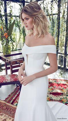 limor rosen 2019 xo bridal off the shoulder semi scoop neckline simple clean minimalist elegant fit and flare wedding dress chapel train (3) zv -- XO by Limor Rosen 2019 Wedding Dresses | Wedding Inspirasi #wedding #weddings #bridal #weddingdress #bride ~