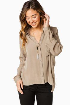Bailey Blouse in Olive / ShopSosie #olive #buttondown #blouse #shopsosie