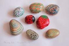 """Handpainted Rocks: Great way to create """"souviners"""" of camping trips.  Already have a working Rock Box to keep them in."""