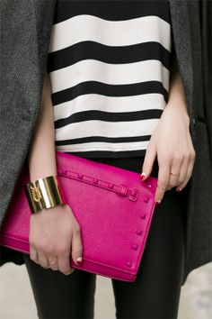 hot pink clutch and stripes
