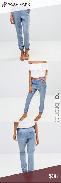 ASOS Vero Moda chambray joggers M TALL Medium tall joggers. High waisted. These have maybe been worn three times. Still look new. Out of stock online. Has some natural fading mostly around ankle cuffs. Beautiful pants, great for spring/ summer. ASOS Pants Track Pants & Joggers
