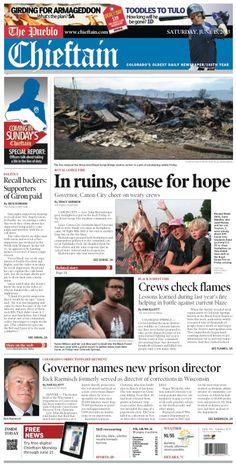 Saturday, June 15, 2013 Chieftain front page
