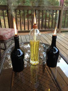 Liquor bottle oil lamps