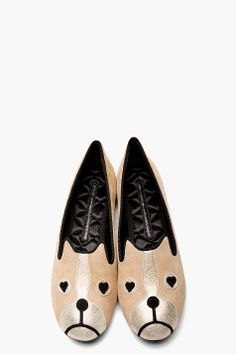MARC BY MARC JACOBS Beige suede Shorty the Boston Terrier Critters Loafers via ssense