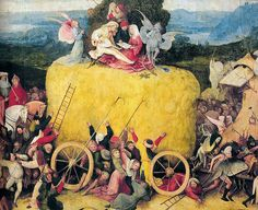 Hieronymus Bosch - The Hay Wagon, 1500 at Prado Museum Madrid Spain