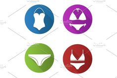 Women's underwear flat design long shadow icons set. Clothes Icons