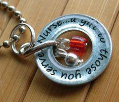 Nurse...a gift to those you serve...13/16 inch silver washer nurse word phrase appreciation pendant