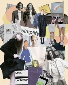 Fashion Moodboard - simplicity concept board - clean silhouettes and simple garments; fashion design process