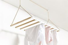 George & Willy The Hanging Drying Rack raises and lowers on a pulley system, creating an instant laundry room Laundry Hanging Rack, Hanging Drying Rack, Drying Rack Laundry, Clothes Drying Racks, Clothes Dryer, Clothes Line, Clothes Hanger, Hanging Clothes, Ikea Clothes Rack