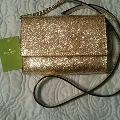 Kate Spade glitter bug cross body NWT New with Tags!! Gold and silver glitter bug cross body. Can be turned into a clutch. kate spade Bags Crossbody Bags