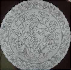 Tile Patterns, Pattern Art, Clay Plates, Islamic Art Pattern, Persian Pattern, Simple Acrylic Paintings, Turkish Art, Blue Pottery, Metal Artwork