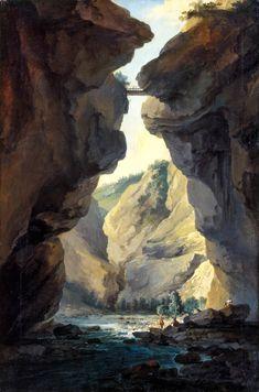 キャスパー・ウルフ (Caspar Wolf)「Bridge and gorges of Dala river in Leuekerbad, view towards the mountain」Sion fine Arts Museum Winterthur, Caspar Wolf, Rocky Mountains, Mountain Art, Romanticism, Museum Of Fine Arts, Alps, 18th Century, Paintings