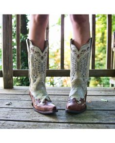 Corral Women's White-Silver/Orange-Blue Butterfly Inlay Boot http://www.countryoutfitter.com/products/36495-womens-white-silver-orange-blue-butterfly-inlay-boot-r1188 #cowgirlboots