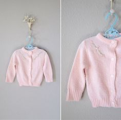 Little Girl's Vintage Cardigan // 1950s PInk Embroidered Sweater // 12 mos. $9.00, via Etsy.
