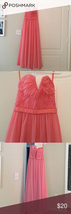 Coral pink bridesmaids dress Only wore once for a wedding... in good condition you can use my measurements for reference .....Bust:34in waist:26in Hips:37in I am 5'1 tall and wore 6in heels and dress was still about an inch long Angelina Dresses Strapless