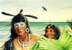 The Teacher(Tocobaga Tribe of Florida). As with all cultures, the young must learn from the adults to survive in their world. The teacher looks out at the viewer as if waiting for a question... Florida Lost Tribes by Theodore Morris