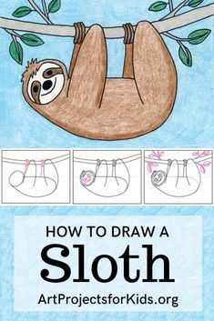 How to Draw a Sloth - APFK Drawings - Learn how to draw a Sloth with this fun and easy art project for kids. Simple step by step tutorial - Drawing Lessons For Kids, Art Drawings For Kids, Easy Drawings, Drawing Ideas Kids, Simple Drawings For Kids, Simple Animal Drawings, Easy Art For Kids, Drawing Tutorials For Kids, Animal Art Projects