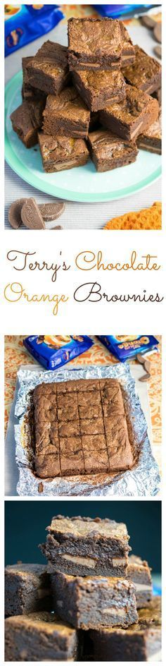Terry's Chocolate Orange Brownies - Every Nook & Cranny Tray Bake Recipes, Brownie Recipes, Baking Recipes, Cake Recipes, Dessert Recipes, Terry's Chocolate Orange, Chocolate Flavors, Chocolate Recipes, Orange Brownies