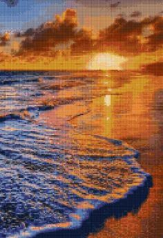 Punto De Cruz Ocean Beach Sunset Cross Stitch pattern PDF Instant - This chart uses 54 DMC colors and the finished size is 130 x 190 stitches, which is approximately - Cross Stitch Needles, Cross Stitch Art, Cross Stitch Designs, Cross Stitching, Cross Stitch Embroidery, Embroidery Patterns, Cross Stitch Patterns, Cross Stitch Landscape, Ocean Beach