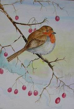 """December Painting Project: Make Your Own Holiday and Christmas Cards: 2008 Christmas Cards: """"My Little Christmas Robin"""" by Anne Chaffer"""