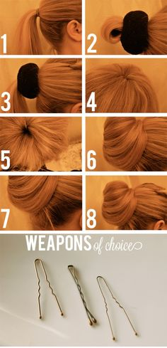 How to use the sock bun method...this actually looks better than most I've seen that require you to roll your sock down the pony tail = mess for layered hair. This one you simply wrap around and pin! Great Pin tried, really works thanks