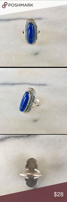 Vintage navajo Sterling silver ring Stunning vintage Navajo sterling silver and Lapis Lazuli Ring    size 5  Stamped Sterling Silver Jewelry Rings