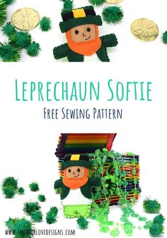 Sew a Felt Leprechaun Softie with this free Sewing Pattern! The little leprechaun friend is fun for St Patrick's Day small world play, as a treat in a Saint Patrick's themed sensory bin, or as a fun decoration. Sewing Patterns For Kids, Sewing Projects For Kids, Sewing For Kids, Crafts For Kids, Free Sewing, Felt Projects, Sewing Ideas, Diy Handmade Toys, Handmade Felt