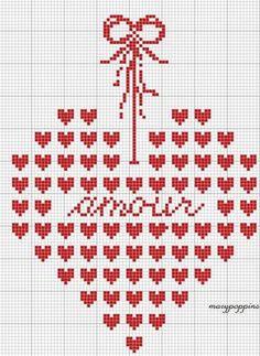 Embroidery, cross stitch pattern, heart, free chart