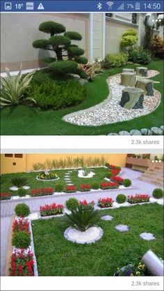 Landschaftsbau - front yard landscaping ideas with rocks Courtyard Landscaping, Landscaping With Rocks, Landscaping Ideas, Garden Deco, Garden Yard Ideas, Garden Paths, Garden Design Plans, Small Garden Design, Backyard Patio Designs