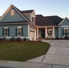 """Benjamin Moore """"Sea Star"""" 2123-30 Exterior Color Schemes, Exterior Paint Colors For House, Paint Colors For Living Room, Paint Colors For Home, Benjamin Moore Exterior Paint, Sea Star Benjamin Moore, Play Houses, House Painting, Building A House"""