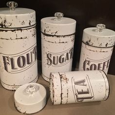 Vintage Kitchen Canisters | 4 Piece Set  Flour, Sugar, Coffee U0026 Tea |