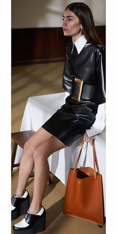 Structure leather with dramatic gold buckle
