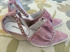 Free People Jeffrey Campbell  suede Stud Ankle Strap Western Boot shoes #JeffreyCampbell #Mules #Casual