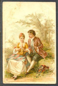 NX129 ART NOUVEAU COUPLE MARQUIS MARQUISE Romance Fine LITHO Publ. TUCK Serie 66