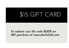HAPPY BLACK FRIDAY!  Fun Gift for all of you ---> $15 GIFT CARD - redeem at www.dentalelle.com - (excludes individual tutoring).  Only until November 30th 2014.