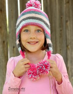 Everyday Art: Children's Knit Ear Flap Hat Pattern, Free Pattern worsted weight yarn size 6 knitting needles, DPNs or circular Baby Hat Knitting Pattern, Baby Hats Knitting, Knitting For Kids, Knitting Patterns, Hat Patterns, Knit Or Crochet, Crochet Hats, Crochet Mittens, Knitted Hats Kids