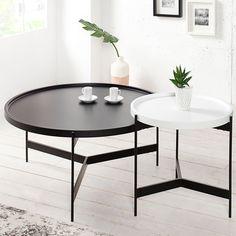 Couchtisch Set LAGOON Schwarz Weiß Matt Rund Beistelltisch Tische U003e 240,