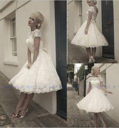 New Design Short Sleeve Sash Custom 1950's Vintage Short Lace Wedding Dress Gown