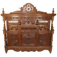 French Hand Heavily Carved Walnut Brittany Bed, Head, 19th Century