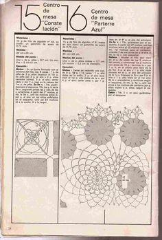 """Patrón #168: Centro de mesa """"Constelacion"""" y """"Pasterre Azul"""" ~ CTejidas [Crochet y Dos Agujas]"""