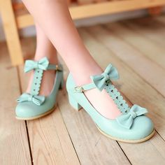 Women Cute Bow Tie T Style Round Toe Ankle Strap Chunky Block Heels Lolita Shoes Plus size
