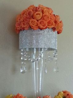 rose and crystal stand arrangement Bling Centerpiece, Tall Wedding Centerpieces, Glass Centerpieces, Wedding Decorations, Centerpiece Ideas, Wedding Table, Diy Wedding, Wedding Events, Wedding Ideas