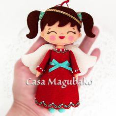 Isn't she cute? #casamagubako, #angel, #Christmas, #felt, #handsewing, #stitching, #ornament, #doll, #fieltro, #feltro,