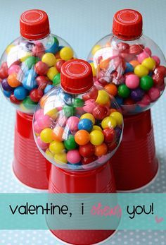 Make cute Valentine's Day gum ball gifts using soda bottles, plastic cups, and glue! Brilliant!