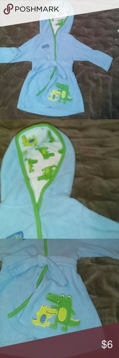 Baby boy bath robe Blue bath robe trimmed in green. Crock at hem.  Made out of terrycloth.. size is 0 to 9 months Pajamas Robes