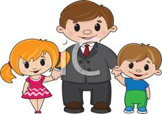 Kids with Dad, Father's Day Clipart