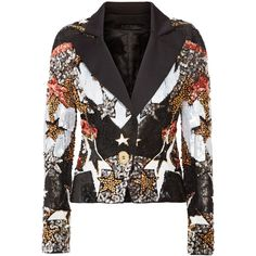 Elie Saab Embellished satin blazer ($5,950) ❤ liked on Polyvore featuring outerwear, jackets, blazers, black, embellished jacket, tailored jacket, sequin jacket, snap jacket and disco jacket