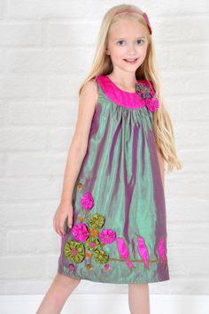 NEW-Couture satin dress 'Birds On A Wire'-2T 3T 4T girls 5 6 -Green colorway-handmade flowers-flower girl dress