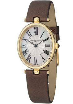 Frederique Constant Art Deco Mother of Pearl Dial Brown Satin on Leather Watch $859.99
